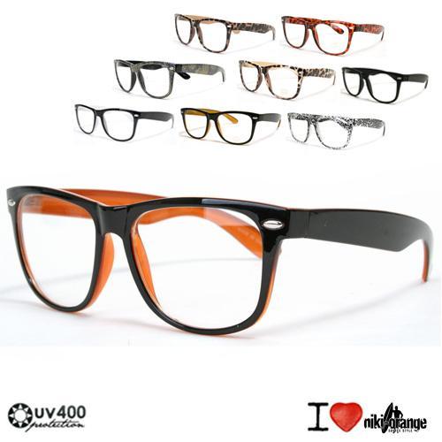 niki orange wayfarer modebrille ohne st rke nerd ebay. Black Bedroom Furniture Sets. Home Design Ideas